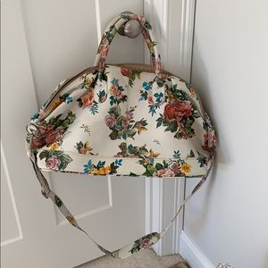 SALE! New Anthropologie 100% leather floral duffle